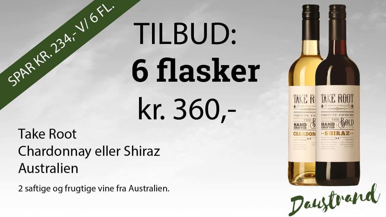 Take Root Chardonnay eller Shiraz Australien 2 saftige og frugtige vine fra Australien.