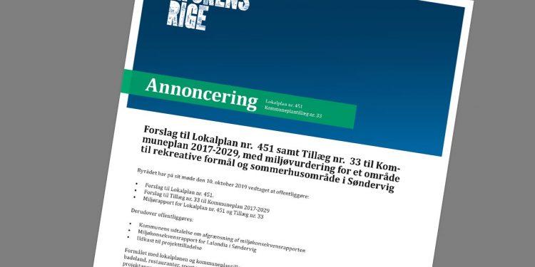 annoncering lokalplan nr. 451 Ringkøbing Skjern Kommune