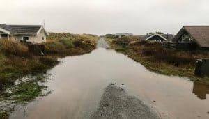 Især sommerhusområderne er hårdt ramt af efterårets megen regn