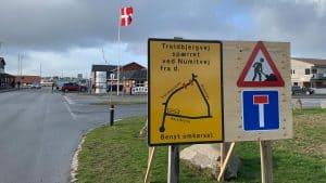 Omkørselsskilt ved Troldbjergvej