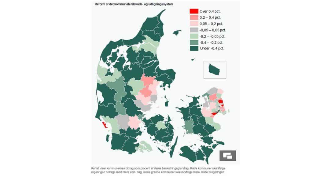 Kommunen undgår endnu en sparerunde med den nye udligningsreform - se fordelingen på dette Danmarkskort fra Regeringen