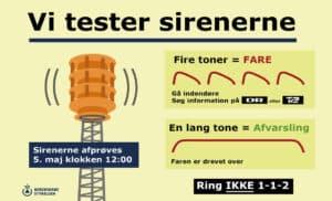 Sirenerne testes onsdag den 5. maj klokken 12.00. foto: beredskabsstyrelsen